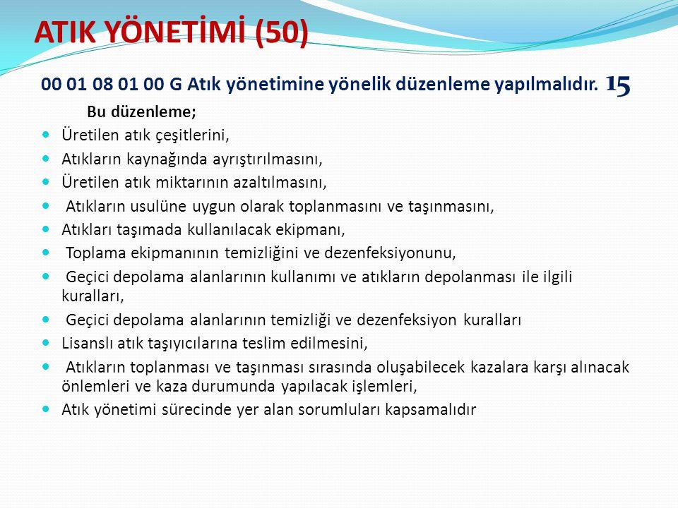 ATIK YÖNETİMİ (50) 00 01 08 01 00 G Atık yönetimine yönelik düzenleme yapılmalıdır. 15. Bu düzenleme;