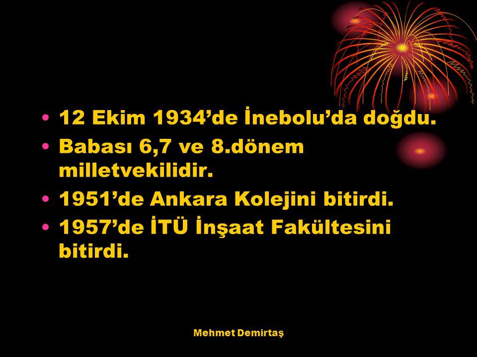 12 Ekim 1934'de İnebolu'da doğdu.