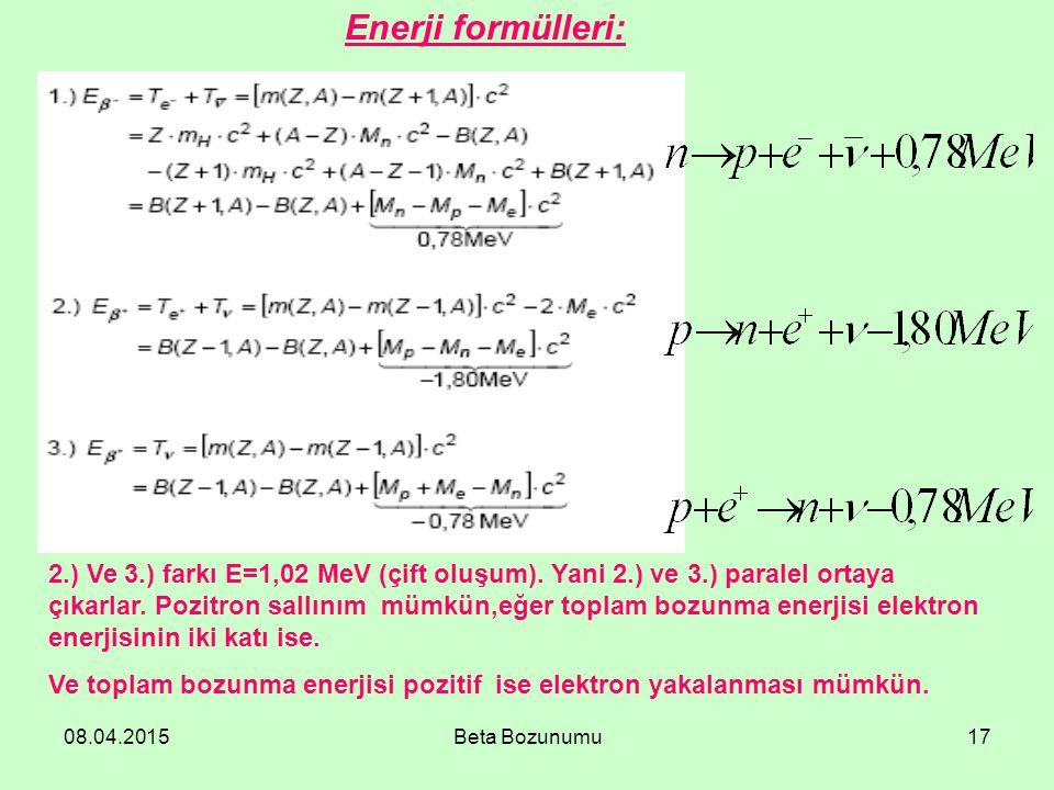 Enerji formülleri: