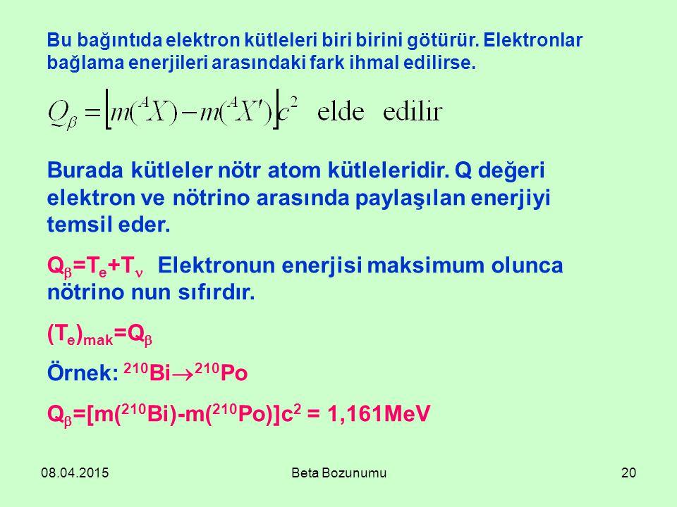 Q=Te+T Elektronun enerjisi maksimum olunca nötrino nun sıfırdır.