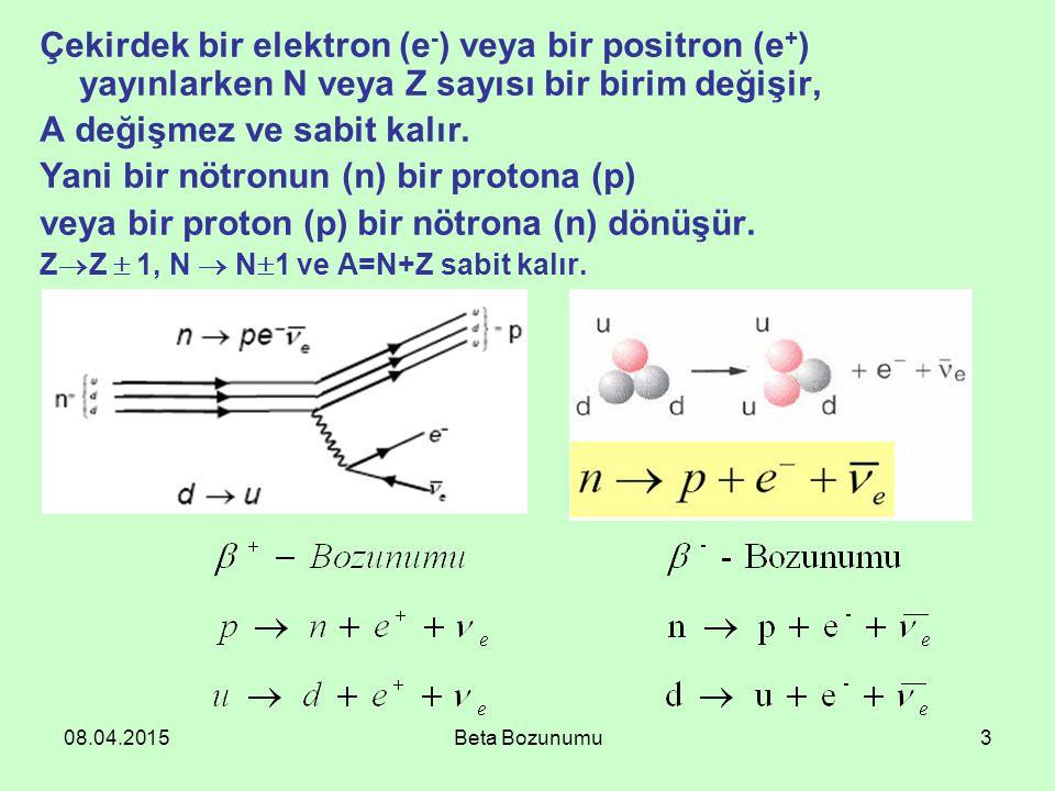 A değişmez ve sabit kalır. Yani bir nötronun (n) bir protona (p)