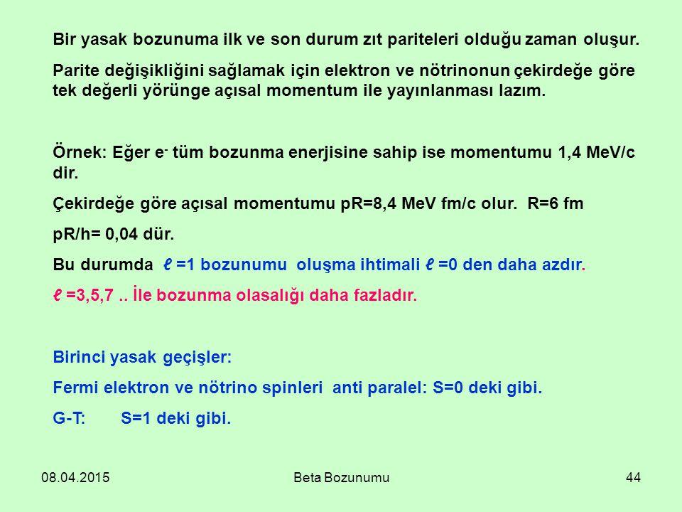 Çekirdeğe göre açısal momentumu pR=8,4 MeV fm/c olur. R=6 fm