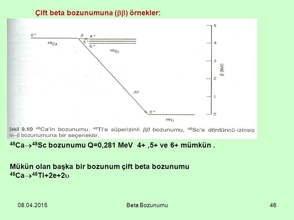 Çift beta bozunumuna () örnekler: