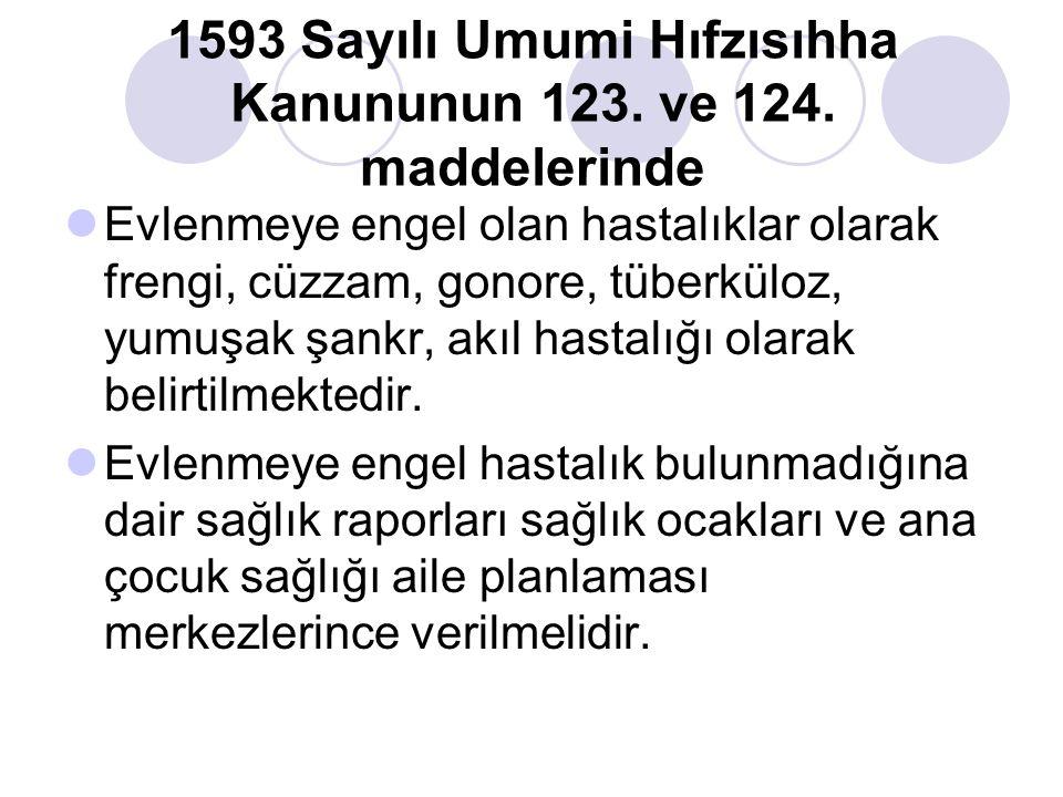 1593 Sayılı Umumi Hıfzısıhha Kanununun 123. ve 124. maddelerinde