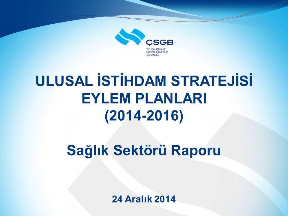 ULUSAL İSTİHDAM STRATEJİSİ EYLEM PLANLARI (2014-2016) Sağlık Sektörü Raporu 24 Aralık 2014