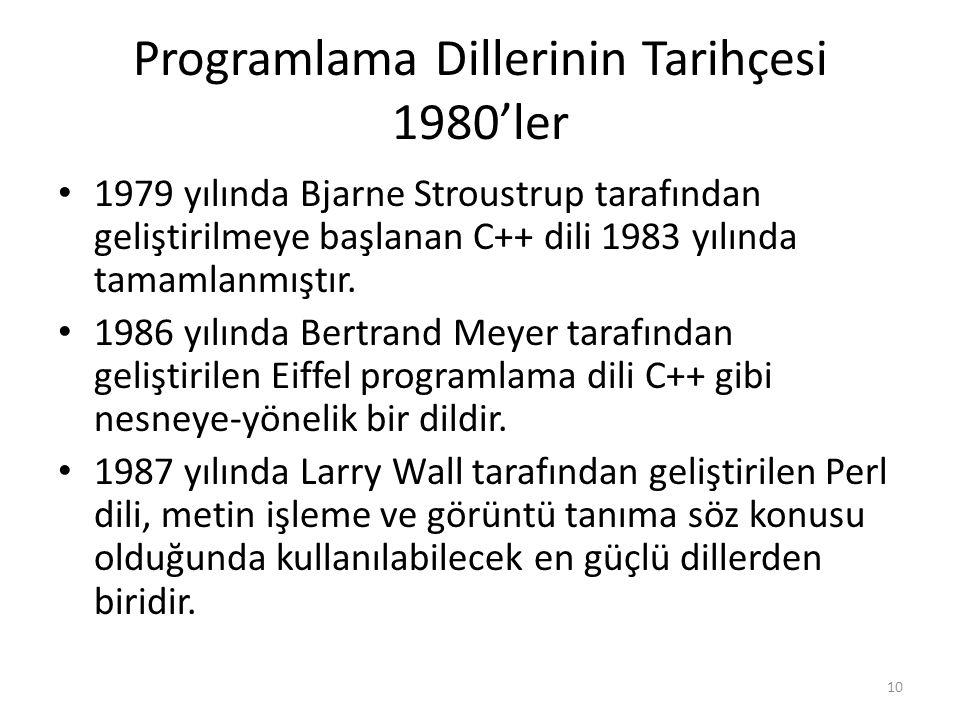 Programlama Dillerinin Tarihçesi 1980'ler