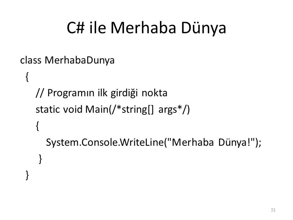 C# ile Merhaba Dünya