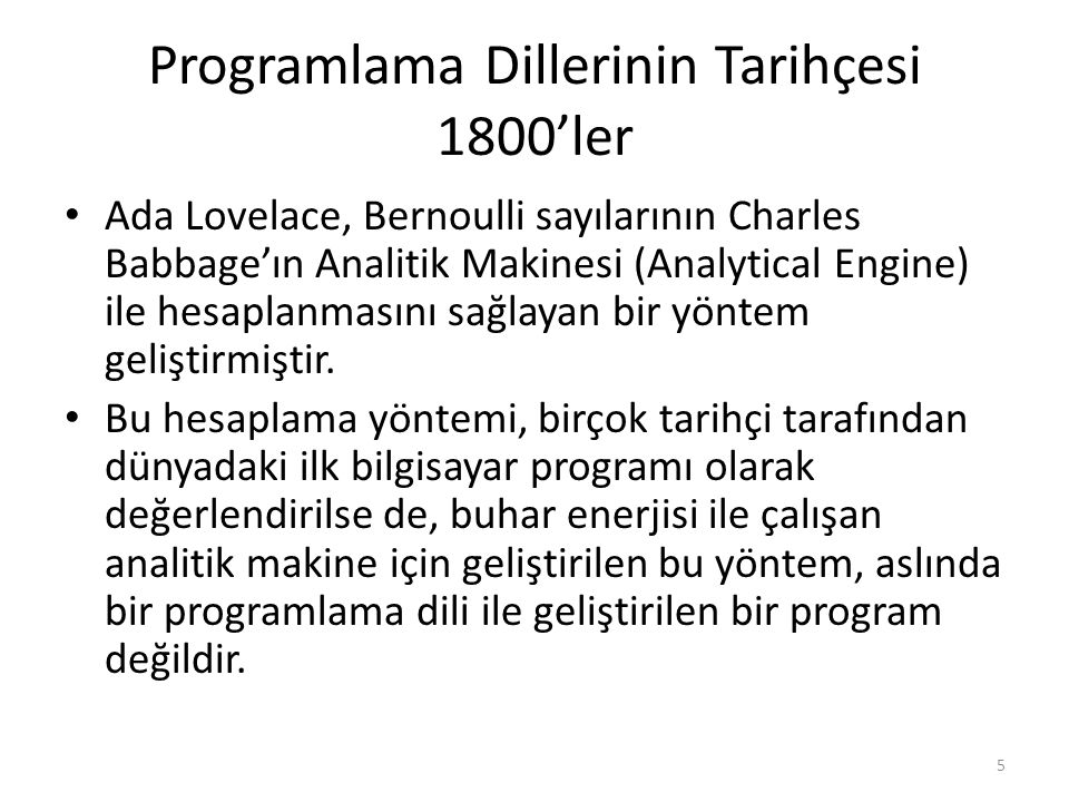 Programlama Dillerinin Tarihçesi 1800'ler