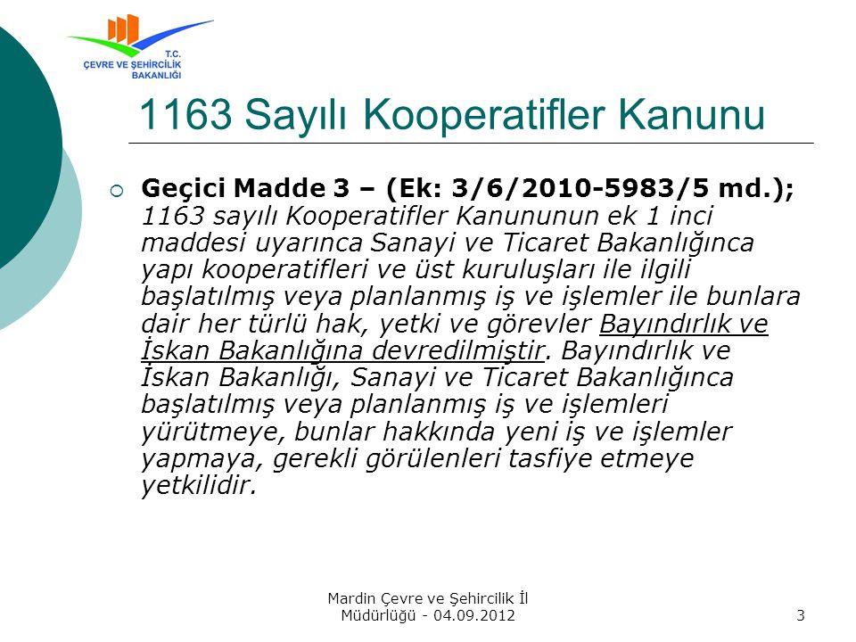 1163 Sayılı Kooperatifler Kanunu