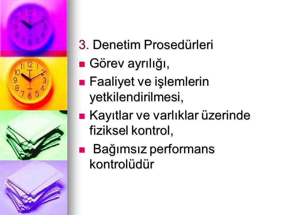 3. Denetim Prosedürleri Görev ayrılığı, Faaliyet ve işlemlerin yetkilendirilmesi, Kayıtlar ve varlıklar üzerinde fiziksel kontrol,