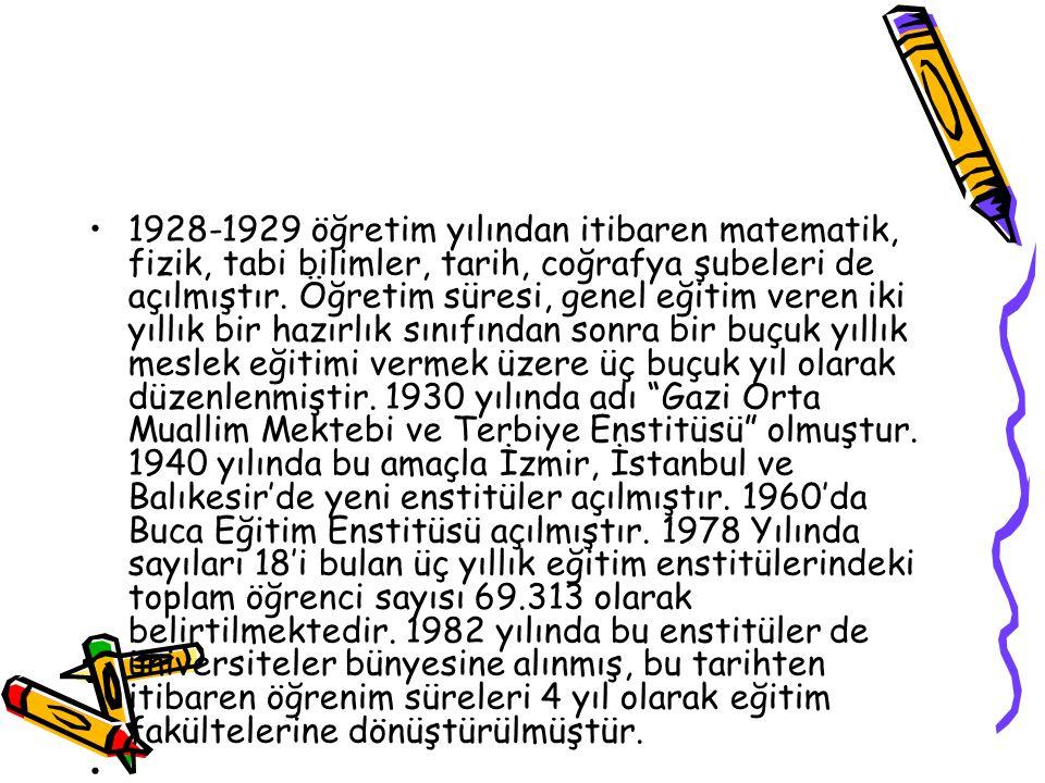 1928-1929 öğretim yılından itibaren matematik, fizik, tabi bilimler, tarih, coğrafya şubeleri de açılmıştır. Öğretim süresi, genel eğitim veren iki yıllık bir hazırlık sınıfından sonra bir buçuk yıllık meslek eğitimi vermek üzere üç buçuk yıl olarak düzenlenmiştir. 1930 yılında adı Gazi Orta Muallim Mektebi ve Terbiye Enstitüsü olmuştur. 1940 yılında bu amaçla İzmir, İstanbul ve Balıkesir'de yeni enstitüler açılmıştır. 1960'da Buca Eğitim Enstitüsü açılmıştır. 1978 Yılında sayıları 18'i bulan üç yıllık eğitim enstitülerindeki toplam öğrenci sayısı 69.313 olarak belirtilmektedir. 1982 yılında bu enstitüler de üniversiteler bünyesine alınmış, bu tarihten itibaren öğrenim süreleri 4 yıl olarak eğitim fakültelerine dönüştürülmüştür.