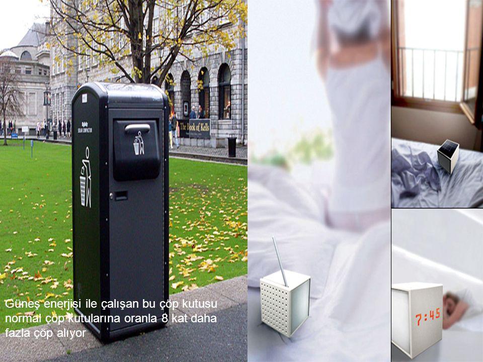 a Güneş enerjisi ile çalışan bu çöp kutusu normal çöp kutularına oranla 8 kat daha fazla çöp alıyor