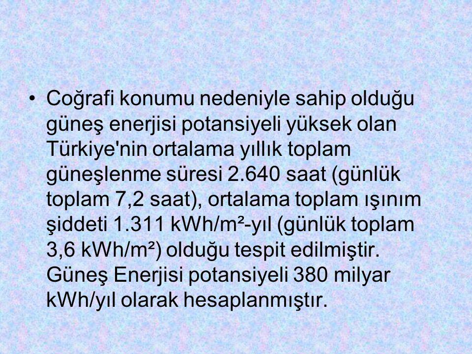 Coğrafi konumu nedeniyle sahip olduğu güneş enerjisi potansiyeli yüksek olan Türkiye nin ortalama yıllık toplam güneşlenme süresi 2.640 saat (günlük toplam 7,2 saat), ortalama toplam ışınım şiddeti 1.311 kWh/m²-yıl (günlük toplam 3,6 kWh/m²) olduğu tespit edilmiştir.