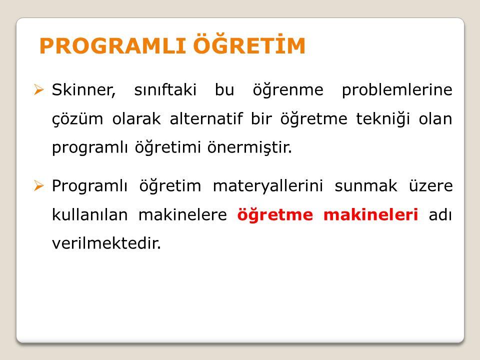 PROGRAMLI ÖĞRETİM Skinner, sınıftaki bu öğrenme problemlerine çözüm olarak alternatif bir öğretme tekniği olan programlı öğretimi önermiştir.