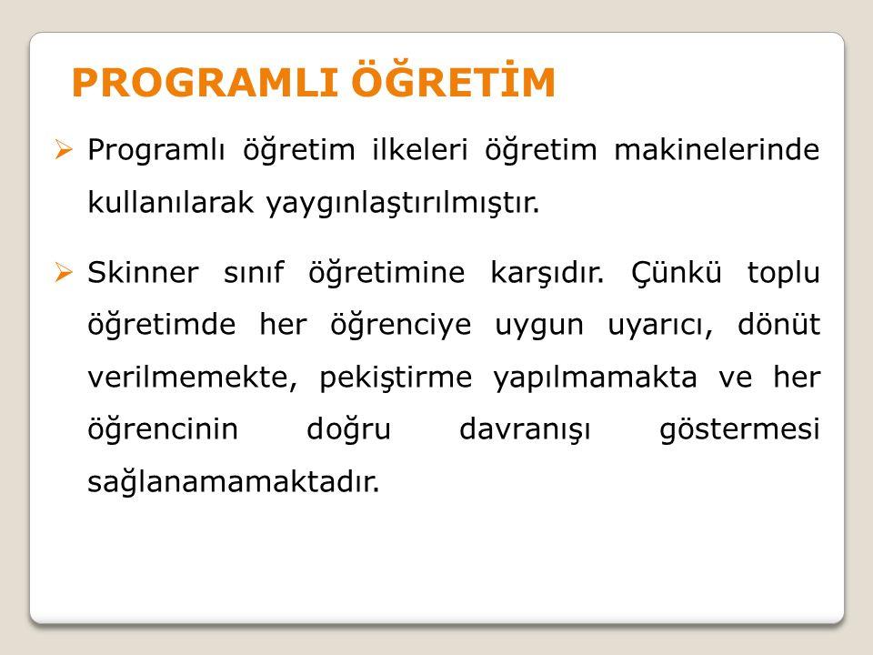 PROGRAMLI ÖĞRETİM Programlı öğretim ilkeleri öğretim makinelerinde kullanılarak yaygınlaştırılmıştır.