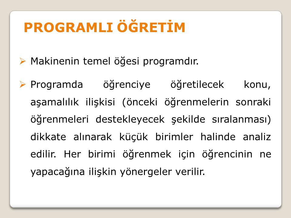 PROGRAMLI ÖĞRETİM Makinenin temel öğesi programdır.