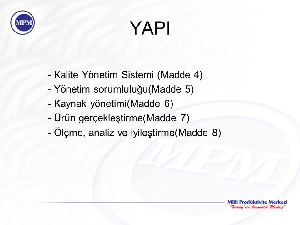 YAPI - Kalite Yönetim Sistemi (Madde 4) - Yönetim sorumluluğu(Madde 5)