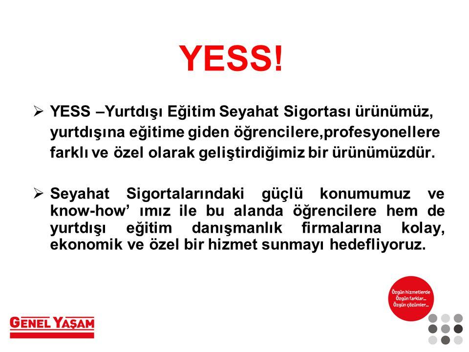YESS! YESS –Yurtdışı Eğitim Seyahat Sigortası ürünümüz,