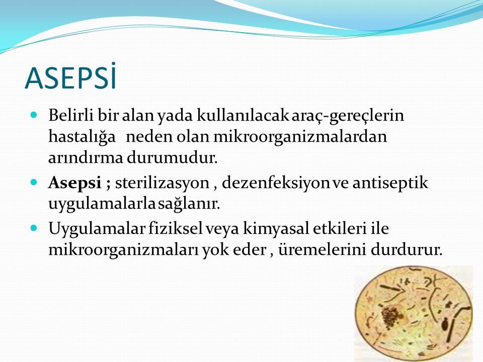 ASEPSİ Belirli bir alan yada kullanılacak araç-gereçlerin hastalığa neden olan mikroorganizmalardan arındırma durumudur.