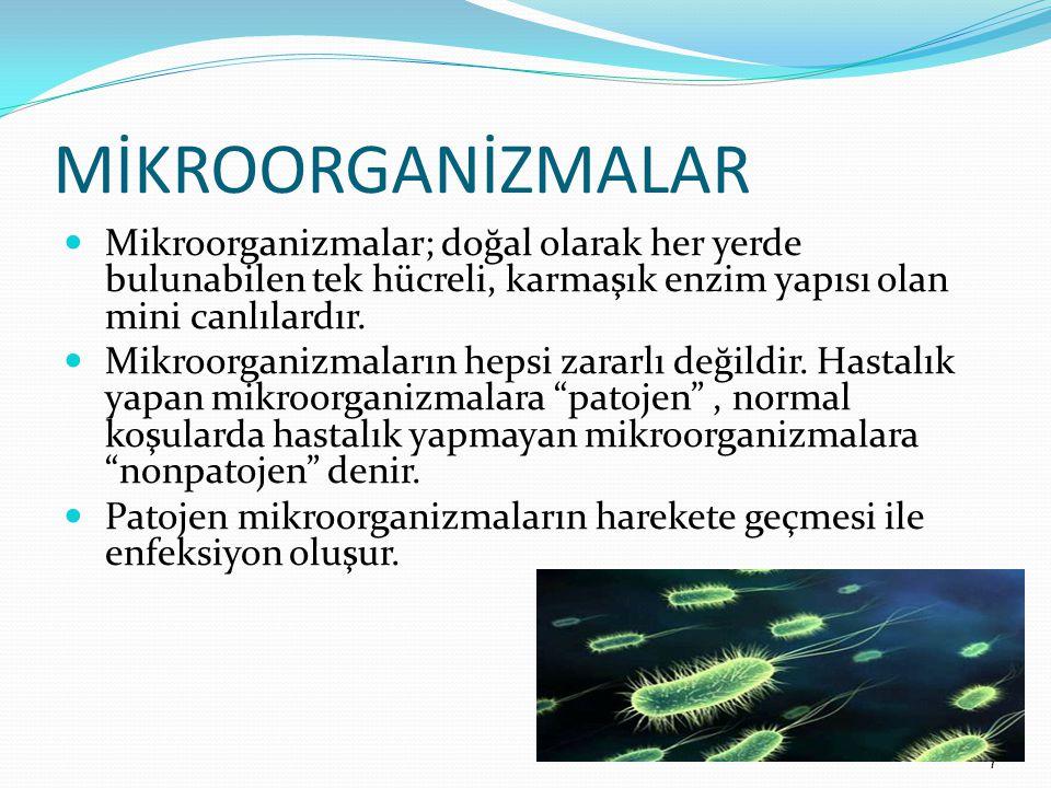 MİKROORGANİZMALAR Mikroorganizmalar; doğal olarak her yerde bulunabilen tek hücreli, karmaşık enzim yapısı olan mini canlılardır.