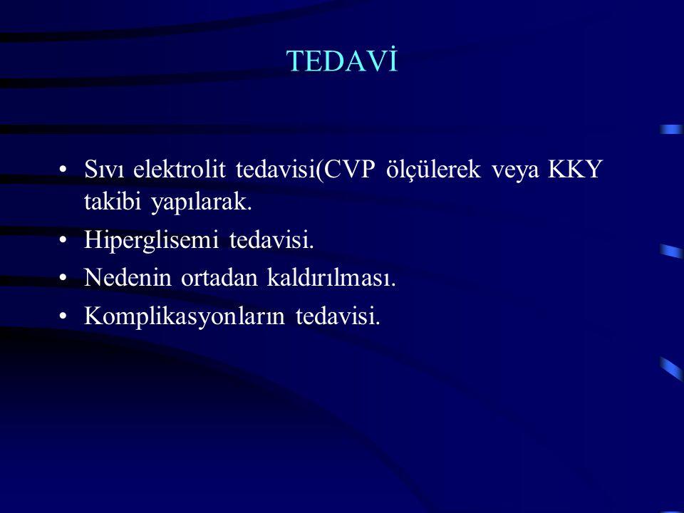 TEDAVİ Sıvı elektrolit tedavisi(CVP ölçülerek veya KKY takibi yapılarak. Hiperglisemi tedavisi. Nedenin ortadan kaldırılması.
