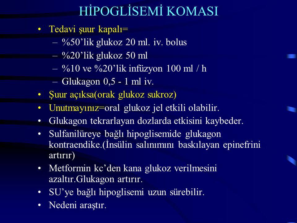 HİPOGLİSEMİ KOMASI Tedavi şuur kapalı= %50'lik glukoz 20 ml. iv. bolus
