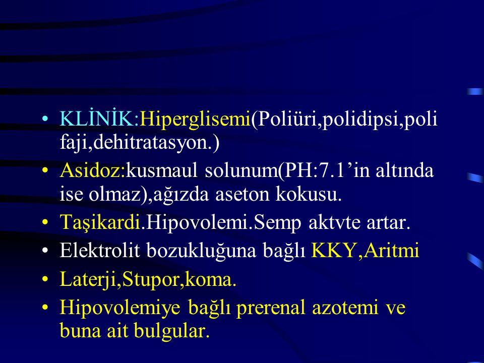 KLİNİK:Hiperglisemi(Poliüri,polidipsi,polifaji,dehitratasyon.)