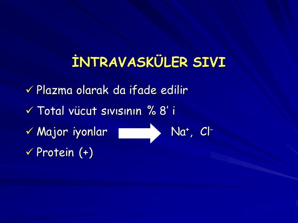 İNTRAVASKÜLER SIVI Plazma olarak da ifade edilir