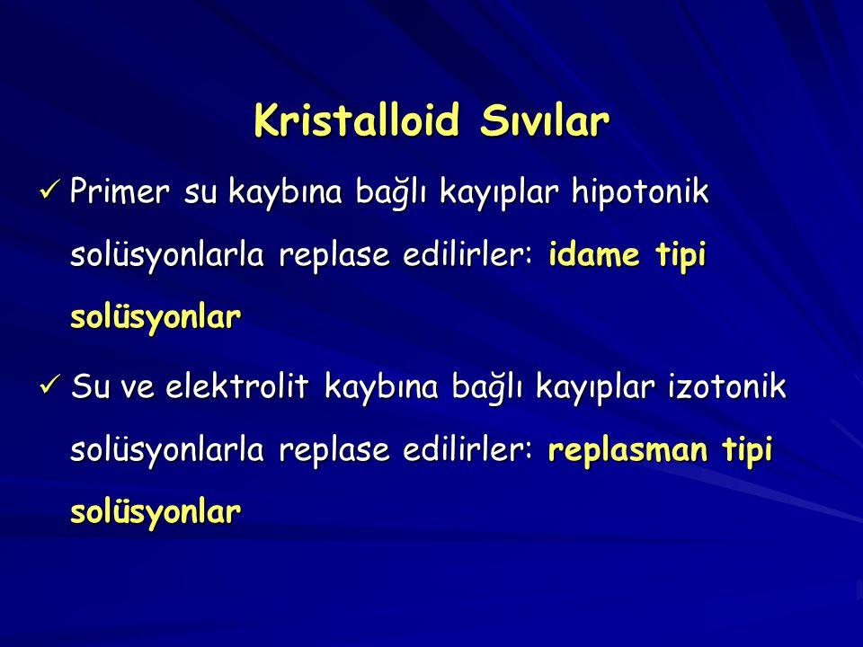 Kristalloid Sıvılar Primer su kaybına bağlı kayıplar hipotonik solüsyonlarla replase edilirler: idame tipi solüsyonlar.