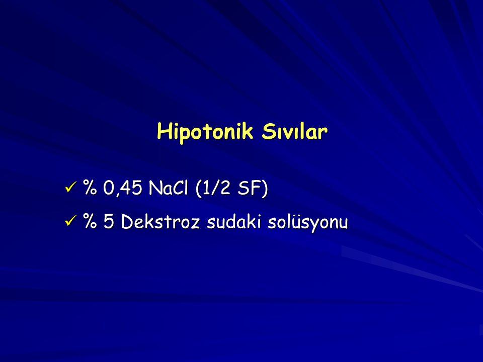 Hipotonik Sıvılar % 0,45 NaCl (1/2 SF) % 5 Dekstroz sudaki solüsyonu