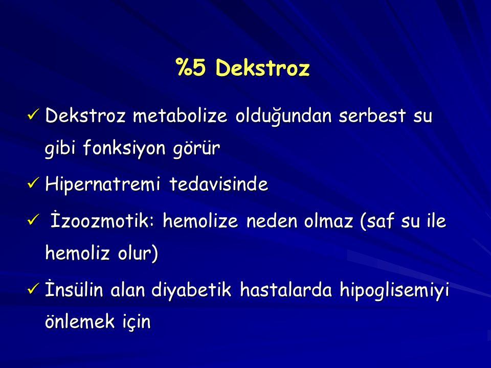 %5 Dekstroz Dekstroz metabolize olduğundan serbest su gibi fonksiyon görür. Hipernatremi tedavisinde.