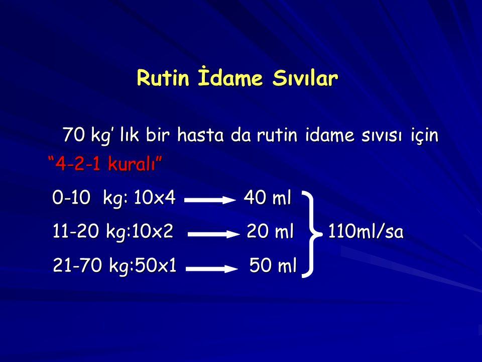 Rutin İdame Sıvılar 70 kg' lık bir hasta da rutin idame sıvısı için 4-2-1 kuralı 0-10 kg: 10x4 40 ml.