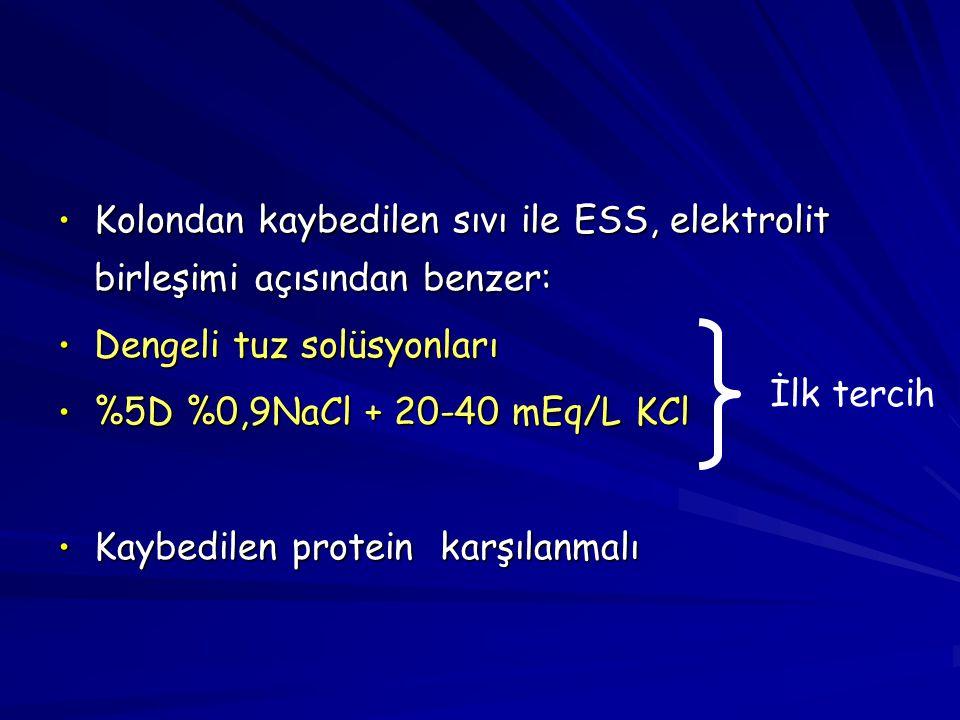 Kolondan kaybedilen sıvı ile ESS, elektrolit birleşimi açısından benzer:
