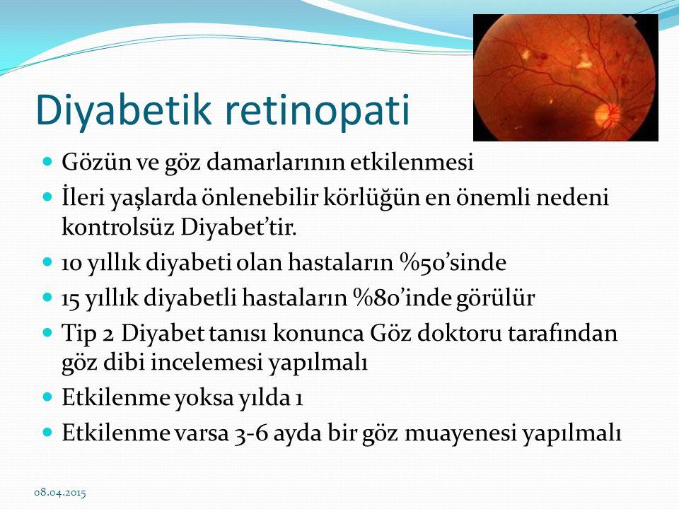 Diyabetik retinopati Gözün ve göz damarlarının etkilenmesi
