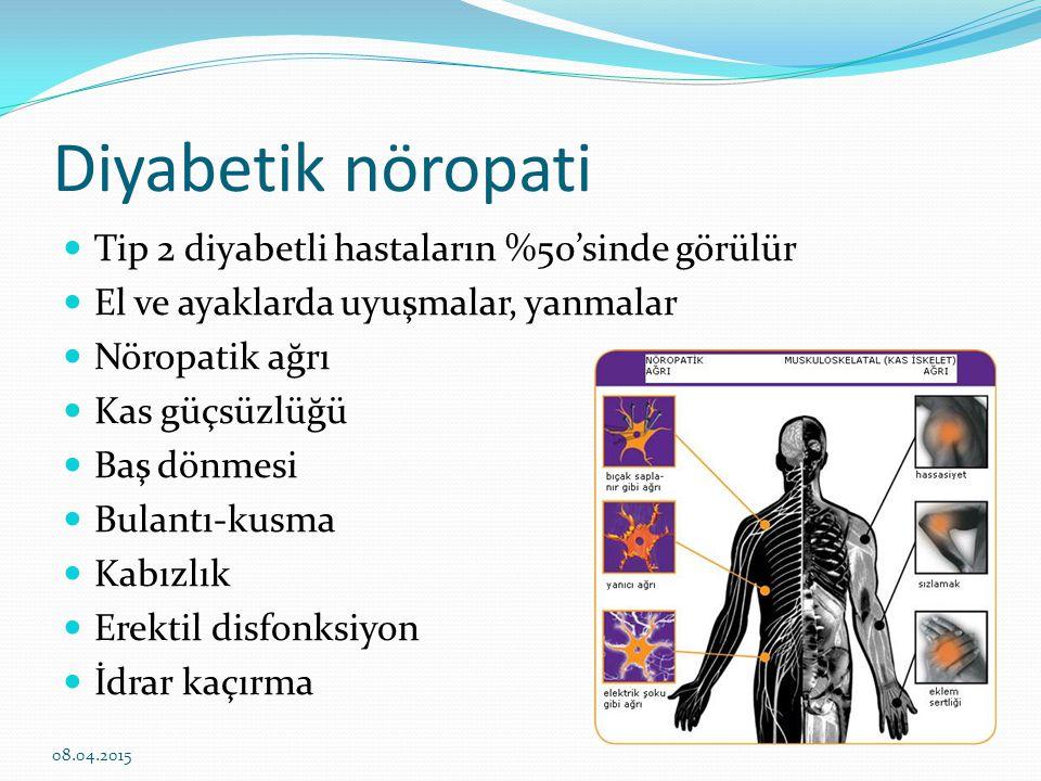 Diyabetik nöropati Tip 2 diyabetli hastaların %50'sinde görülür