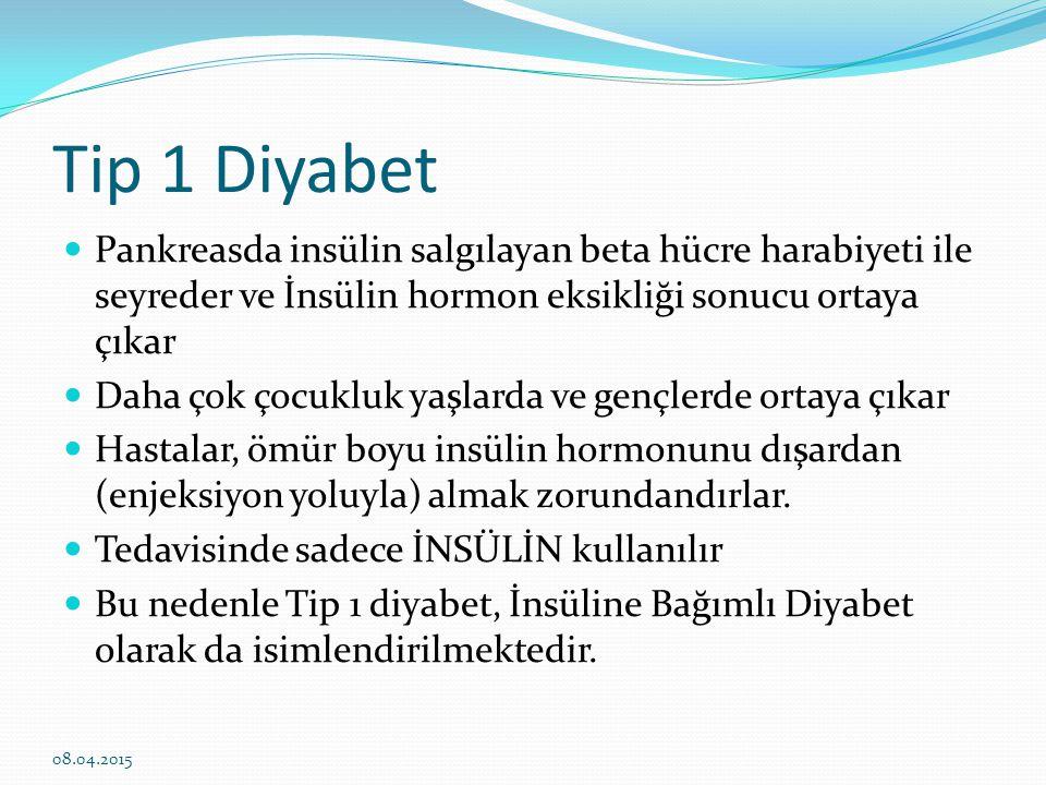 Tip 1 Diyabet Pankreasda insülin salgılayan beta hücre harabiyeti ile seyreder ve İnsülin hormon eksikliği sonucu ortaya çıkar.