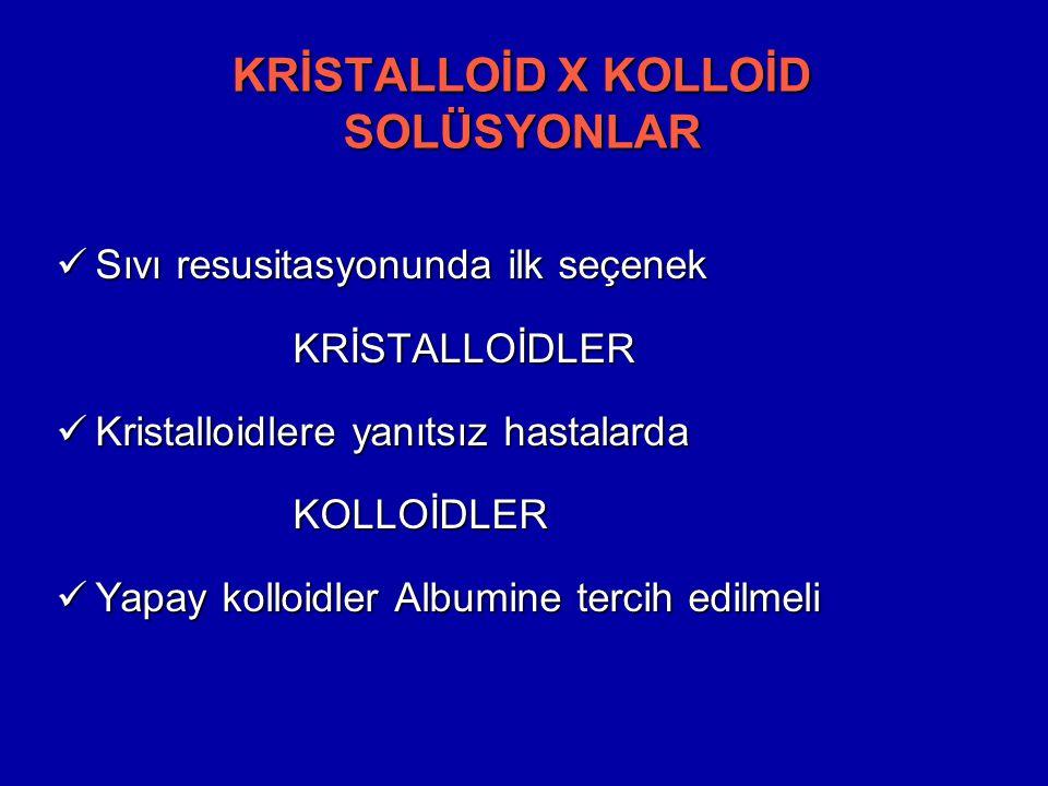 KRİSTALLOİD X KOLLOİD SOLÜSYONLAR