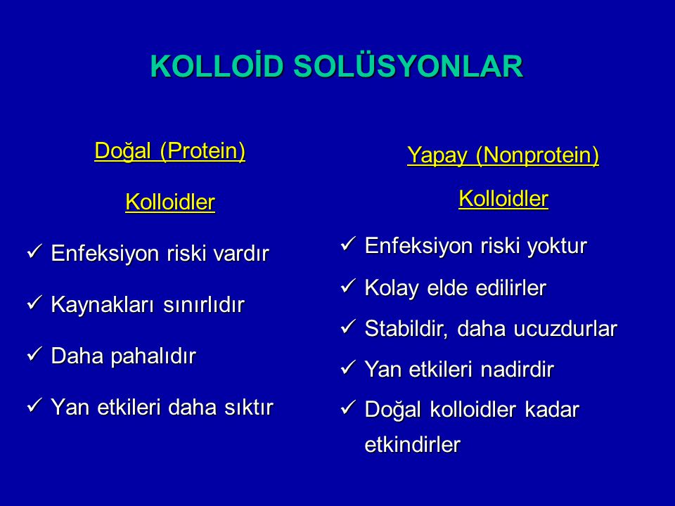KOLLOİD SOLÜSYONLAR Doğal (Protein) Yapay (Nonprotein) Kolloidler