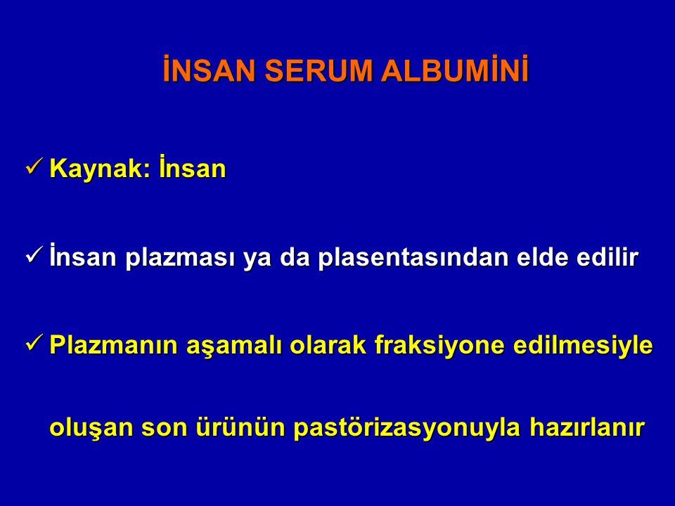 İNSAN SERUM ALBUMİNİ Kaynak: İnsan