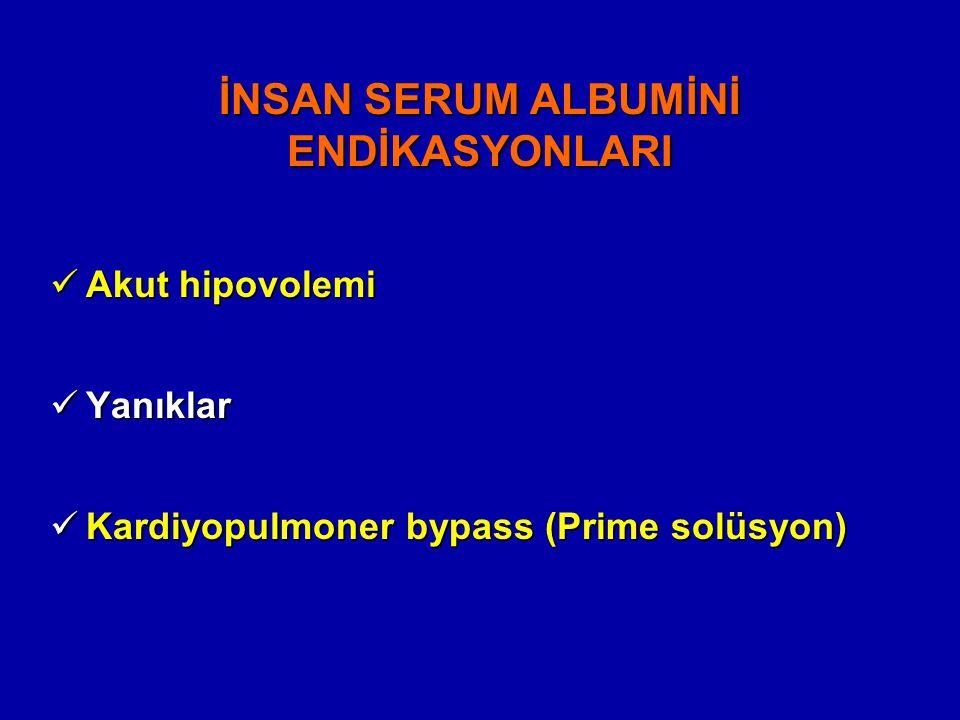 İNSAN SERUM ALBUMİNİ ENDİKASYONLARI
