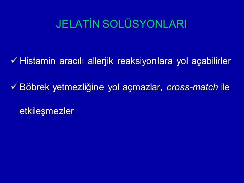 JELATİN SOLÜSYONLARI Histamin aracılı allerjik reaksiyonlara yol açabilirler.