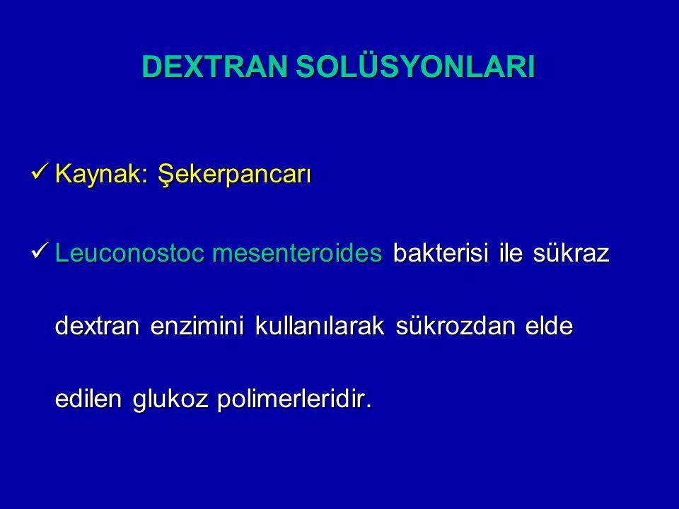 DEXTRAN SOLÜSYONLARI Kaynak: Şekerpancarı