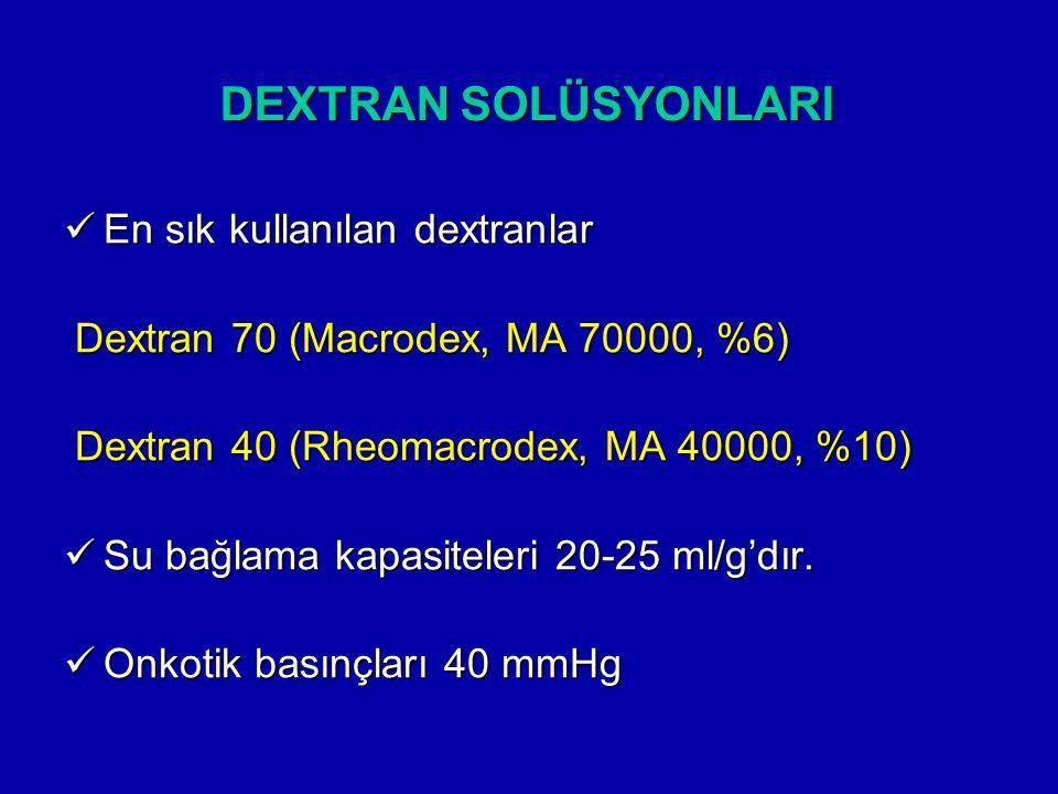DEXTRAN SOLÜSYONLARI En sık kullanılan dextranlar