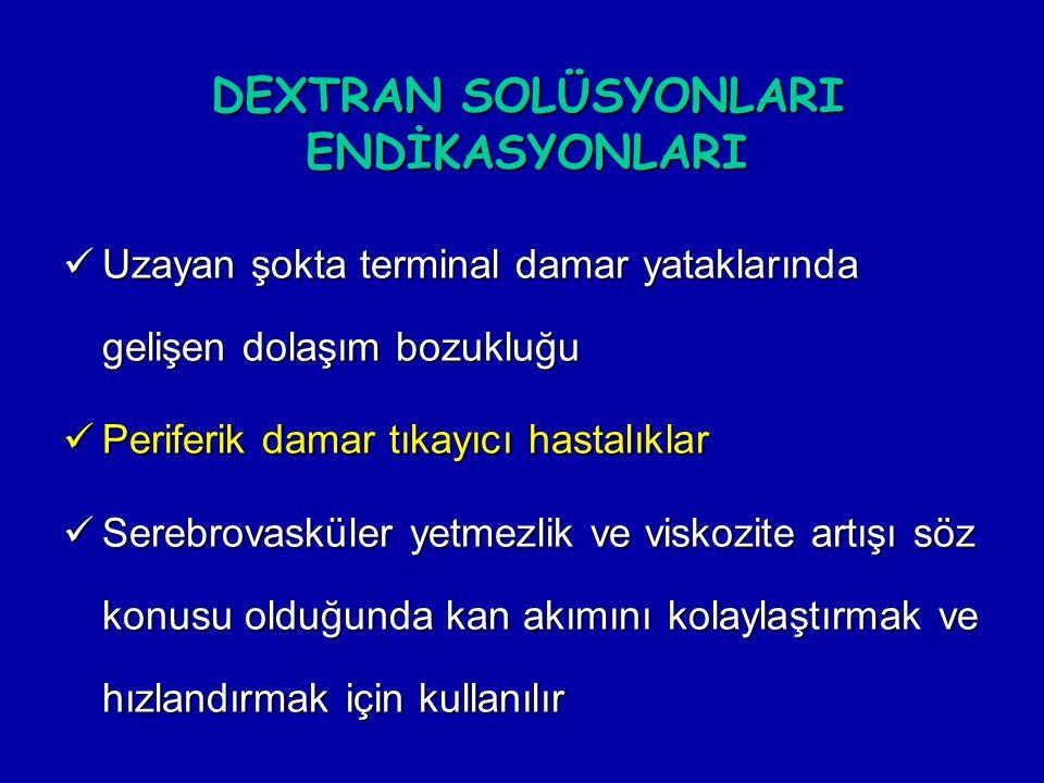 DEXTRAN SOLÜSYONLARI ENDİKASYONLARI