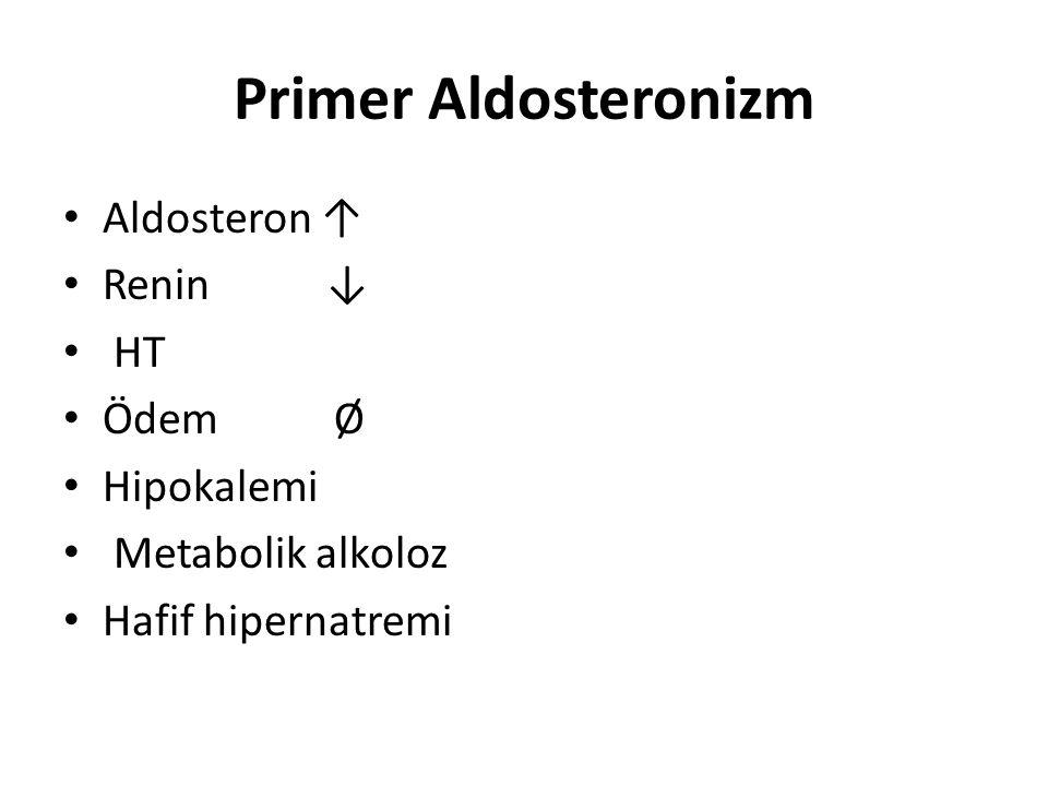 Primer Aldosteronizm Aldosteron ↑ Renin ↓ HT Ödem Ø Hipokalemi