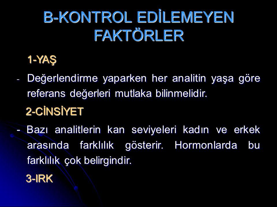 B-KONTROL EDİLEMEYEN FAKTÖRLER