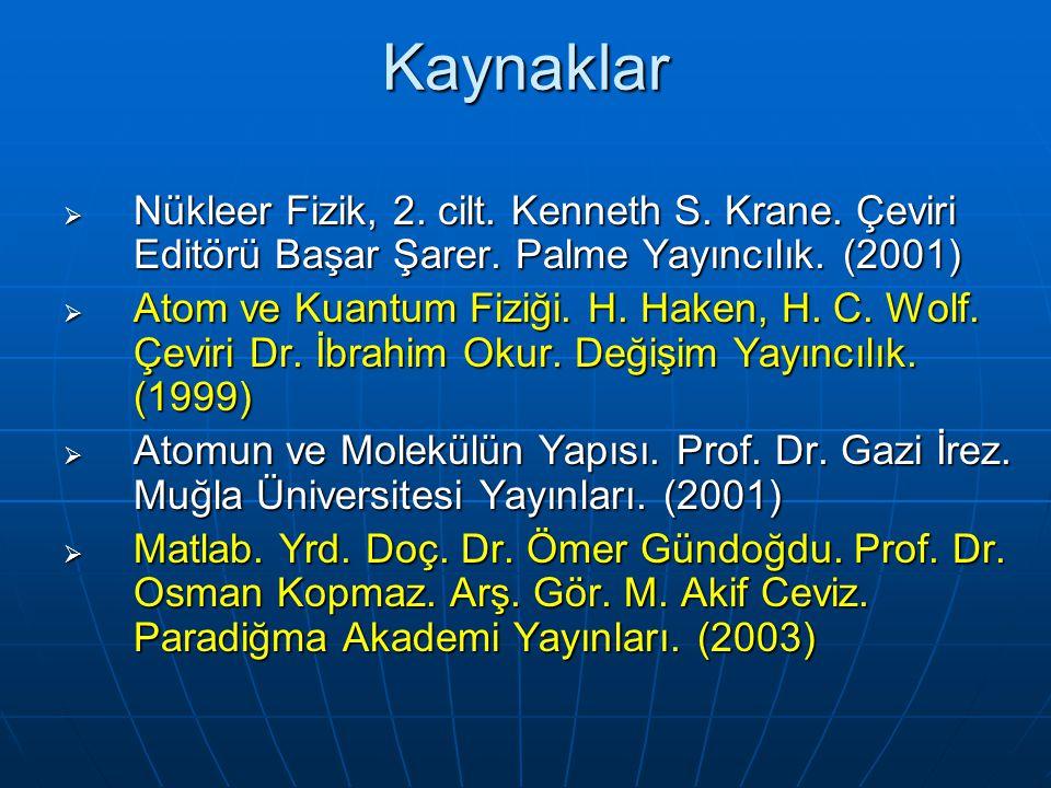 Kaynaklar Nükleer Fizik, 2. cilt. Kenneth S. Krane. Çeviri Editörü Başar Şarer. Palme Yayıncılık. (2001)