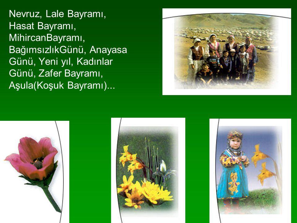 Nevruz, Lale Bayramı, Hasat Bayramı, MihircanBayramı, BağımsızlıkGünü, Anayasa. Günü, Yeni yıl, Kadınlar.