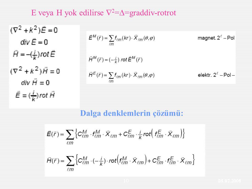 Dalga denklemlerin çözümü: