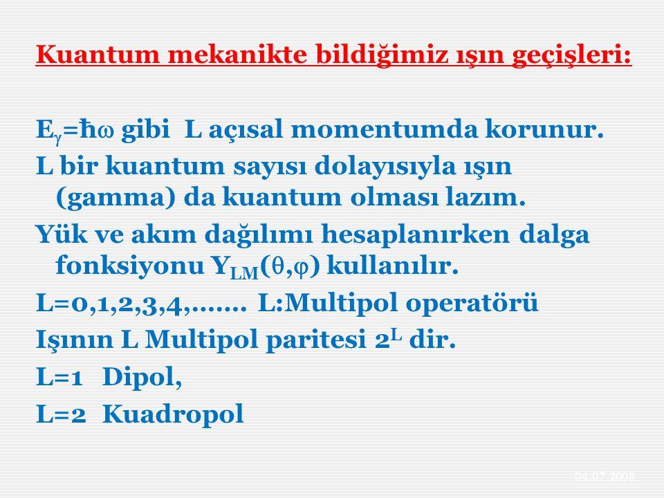 Kuantum mekanikte bildiğimiz ışın geçişleri: E=ħ gibi L açısal momentumda korunur. L bir kuantum sayısı dolayısıyla ışın (gamma) da kuantum olması lazım. Yük ve akım dağılımı hesaplanırken dalga fonksiyonu YLM(,) kullanılır. L=0,1,2,3,4,……. L:Multipol operatörü Işının L Multipol paritesi 2L dir. L=1 Dipol, L=2 Kuadropol